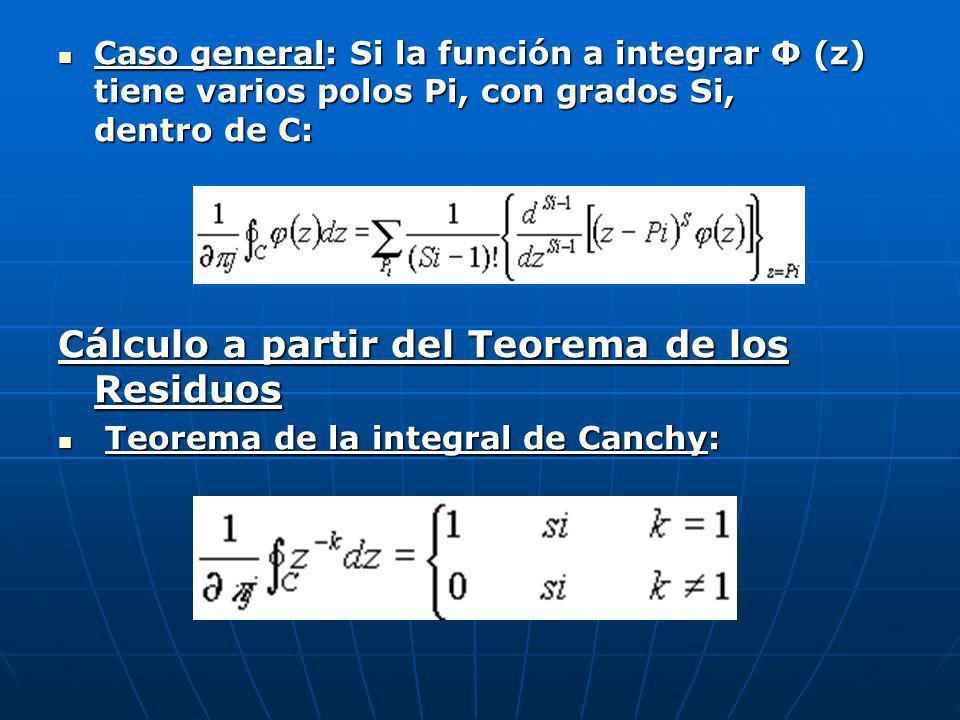 Caso general: Si la función a integrar Φ (z) tiene varios polos Pi, con grados Si, dentro de C: Caso general: Si la función a integrar Φ (z) tiene var