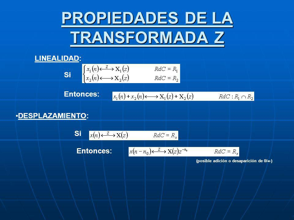 PROPIEDADES DE LA TRANSFORMADA Z LINEALIDAD: Si Entonces: DESPLAZAMIENTO: Si Entonces: (posible adición o desaparición de 0/ )