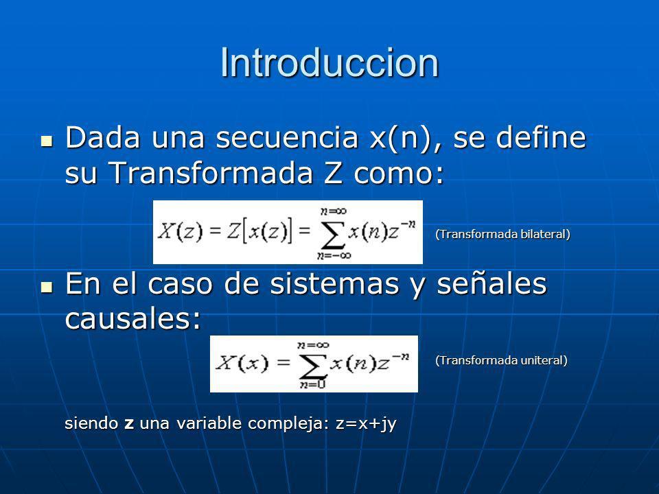 Introduccion Dada una secuencia x(n), se define su Transformada Z como: Dada una secuencia x(n), se define su Transformada Z como: (Transformada bilat