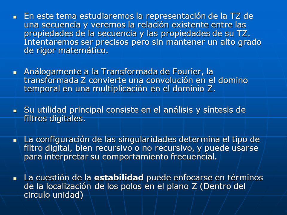 Análogamente a la Transformada de Fourier, la transformada Z convierte una convolución en el domino temporal en una multiplicación en el dominio Z. An