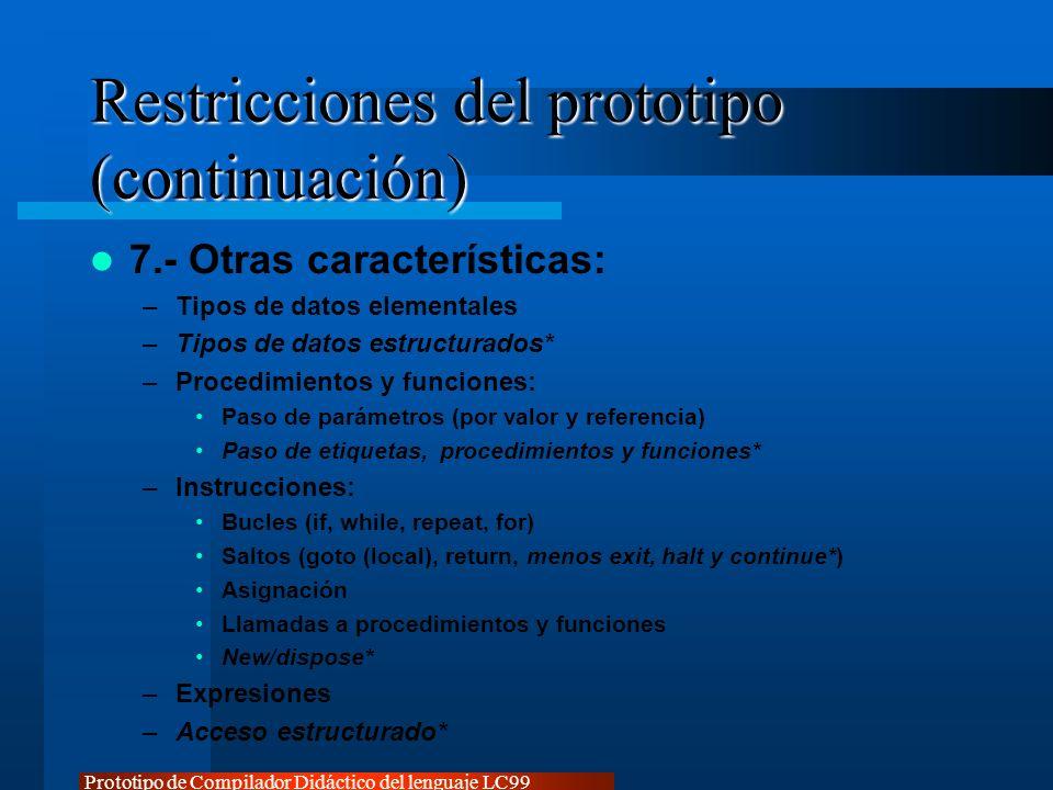 Prototipo de Compilador Didáctico del lenguaje LC99 Restricciones del prototipo (continuación) 7.- Otras características: –Tipos de datos elementales