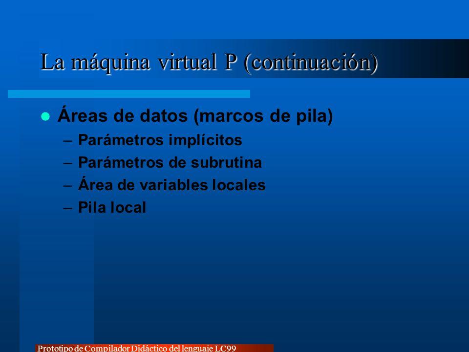 Prototipo de Compilador Didáctico del lenguaje LC99 La máquina virtual P (continuación) Áreas de datos (marcos de pila) –Parámetros implícitos –Paráme