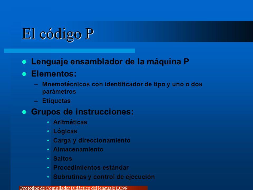 Prototipo de Compilador Didáctico del lenguaje LC99 El código P Lenguaje ensamblador de la máquina P Elementos: –Mnemotécnicos con identificador de ti