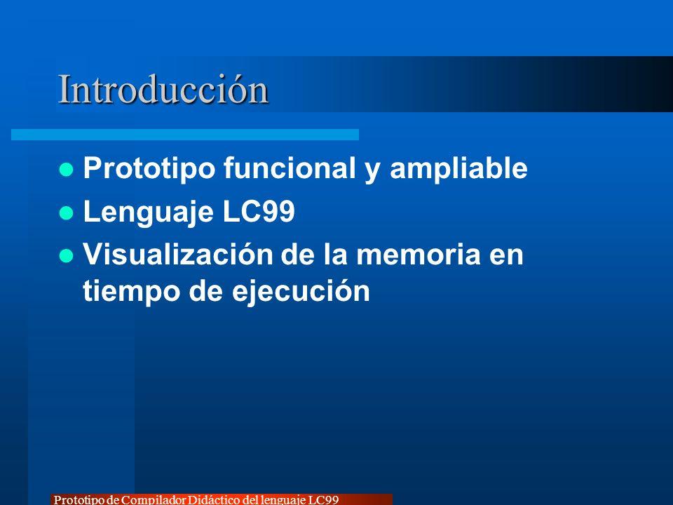 Prototipo de Compilador Didáctico del lenguaje LC99 Introducción Prototipo funcional y ampliable Lenguaje LC99 Visualización de la memoria en tiempo d
