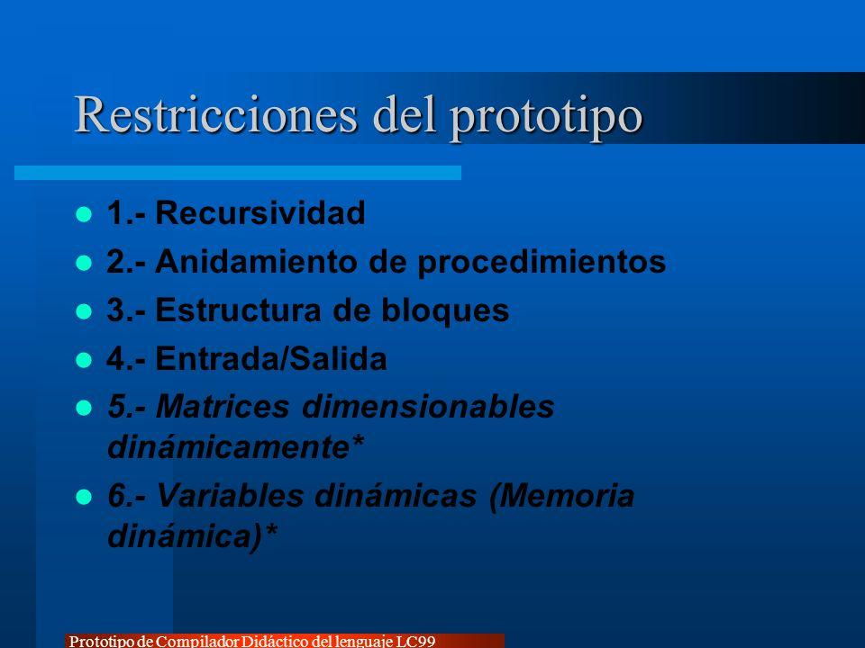 Prototipo de Compilador Didáctico del lenguaje LC99 Restricciones del prototipo 1.- Recursividad 2.- Anidamiento de procedimientos 3.- Estructura de b