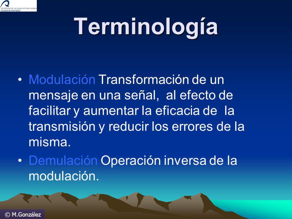 © M.González Terminología Modulación Transformación de un mensaje en una señal, al efecto de facilitar y aumentar la eficacia de la transmisión y redu