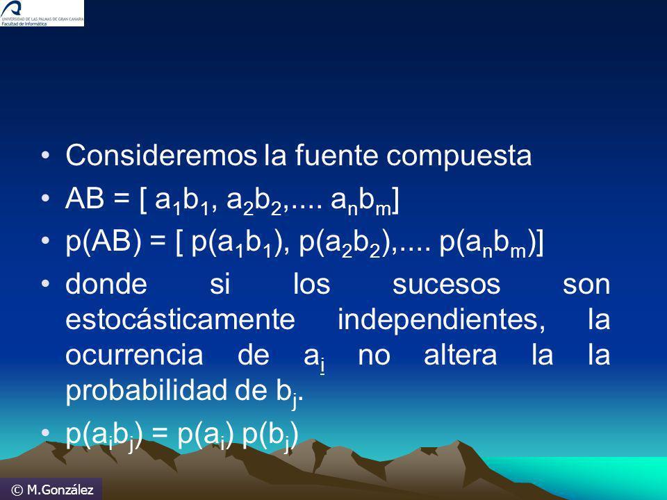 © M.González Consideremos la fuente compuesta AB = [ a 1 b 1, a 2 b 2,.... a n b m ] p(AB) = [ p(a 1 b 1 ), p(a 2 b 2 ),.... p(a n b m )] donde si los