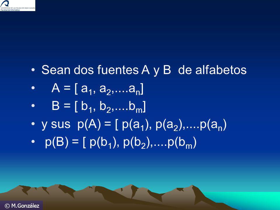 © M.González Sean dos fuentes A y B de alfabetos A = [ a 1, a 2,....a n ] B = [ b 1, b 2,....b m ] y sus p(A) = [ p(a 1 ), p(a 2 ),....p(a n ) p(B) =