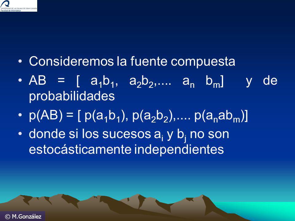 © M.González Consideremos la fuente compuesta AB = [ a 1 b 1, a 2 b 2,.... a n b m ] y de probabilidades p(AB) = [ p(a 1 b 1 ), p(a 2 b 2 ),.... p(a n