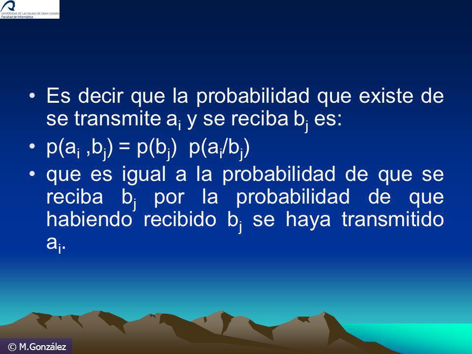© M.González Es decir que la probabilidad que existe de se transmite a i y se reciba b j es: p(a i,b j ) = p(b j ) p(a i /b j ) que es igual a la prob