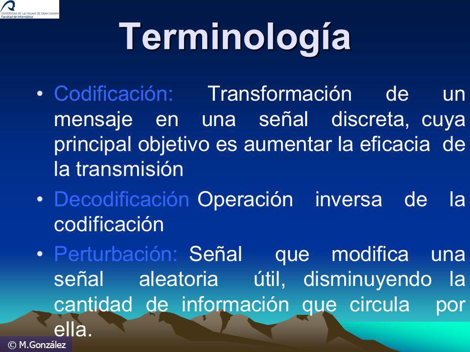 © M.GonzálezTerminología Codificación: Transformación de un mensaje en una señal discreta, cuya principal objetivo es aumentar la eficacia de la trans