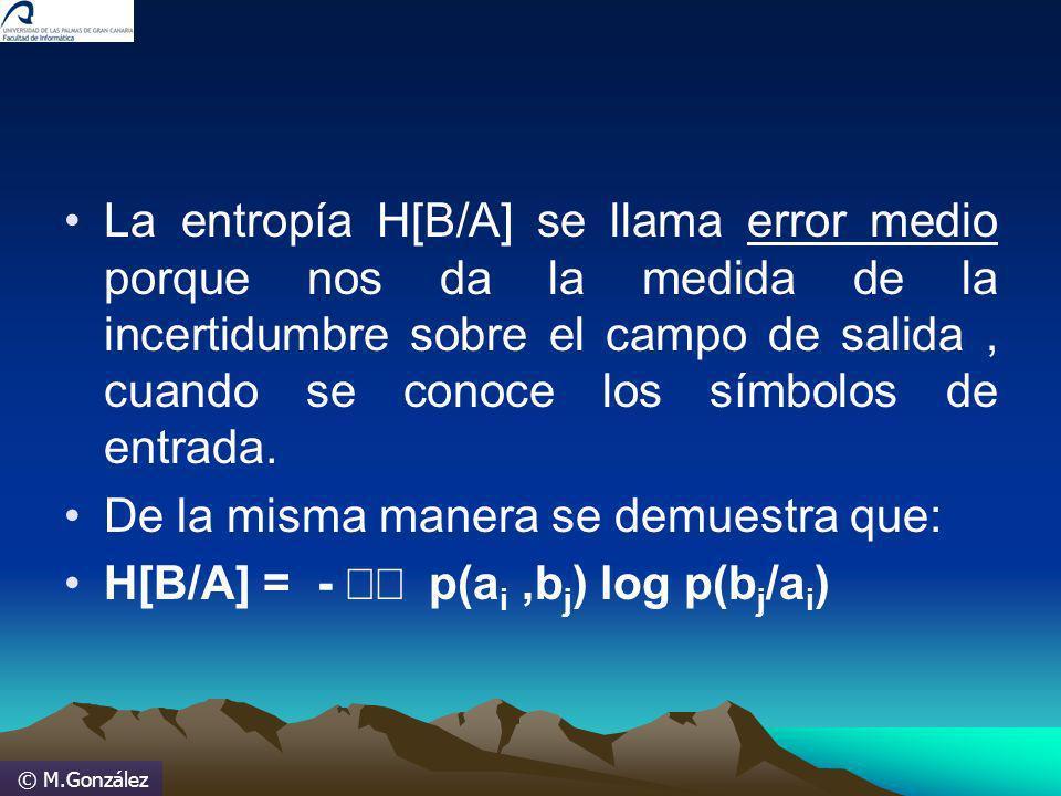© M.González La entropía H[B/A] se llama error medio porque nos da la medida de la incertidumbre sobre el campo de salida, cuando se conoce los símbol