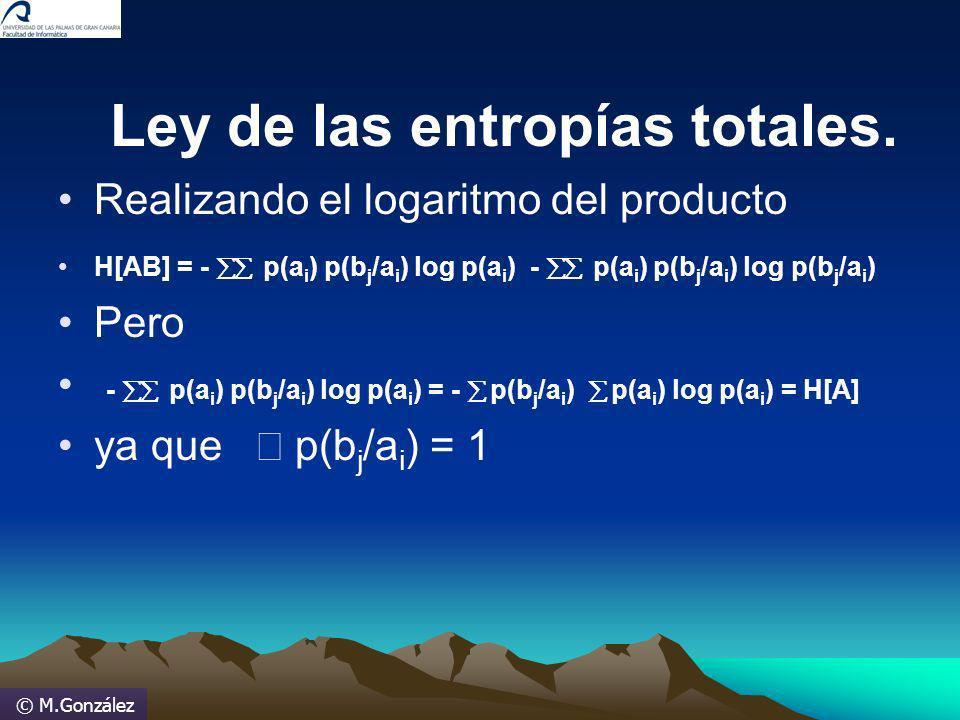 © M.González Ley de las entropías totales. Realizando el logaritmo del producto H[AB] = - p(a i ) p(b j /a i ) log p(a i ) - p(a i ) p(b j /a i ) log
