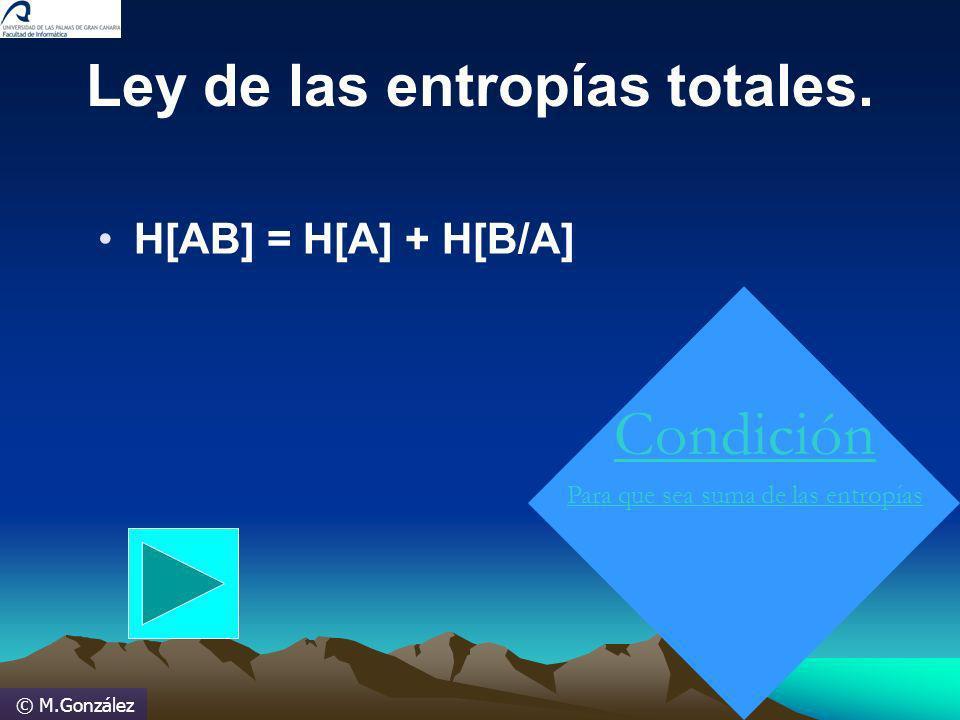 © M.González H[AB] = H[A] + H[B/A] Ley de las entropías totales. Condición Para que sea suma de las entropías