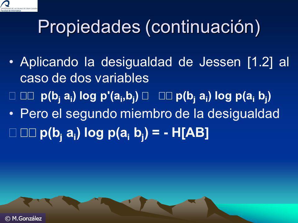 © M.González Propiedades (continuación) Aplicando la desigualdad de Jessen [1.2] al caso de dos variables p(b j a i ) log p'(a i,b j ) p(b j a i ) log
