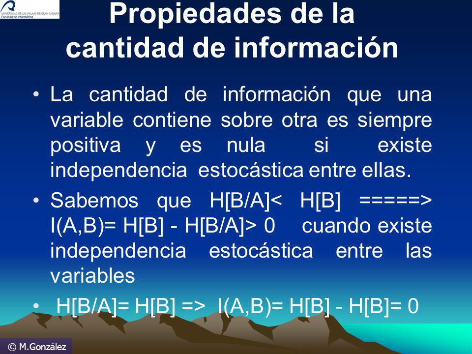 © M.González Propiedades de la cantidad de información La cantidad de información que una variable contiene sobre otra es siempre positiva y es nula s