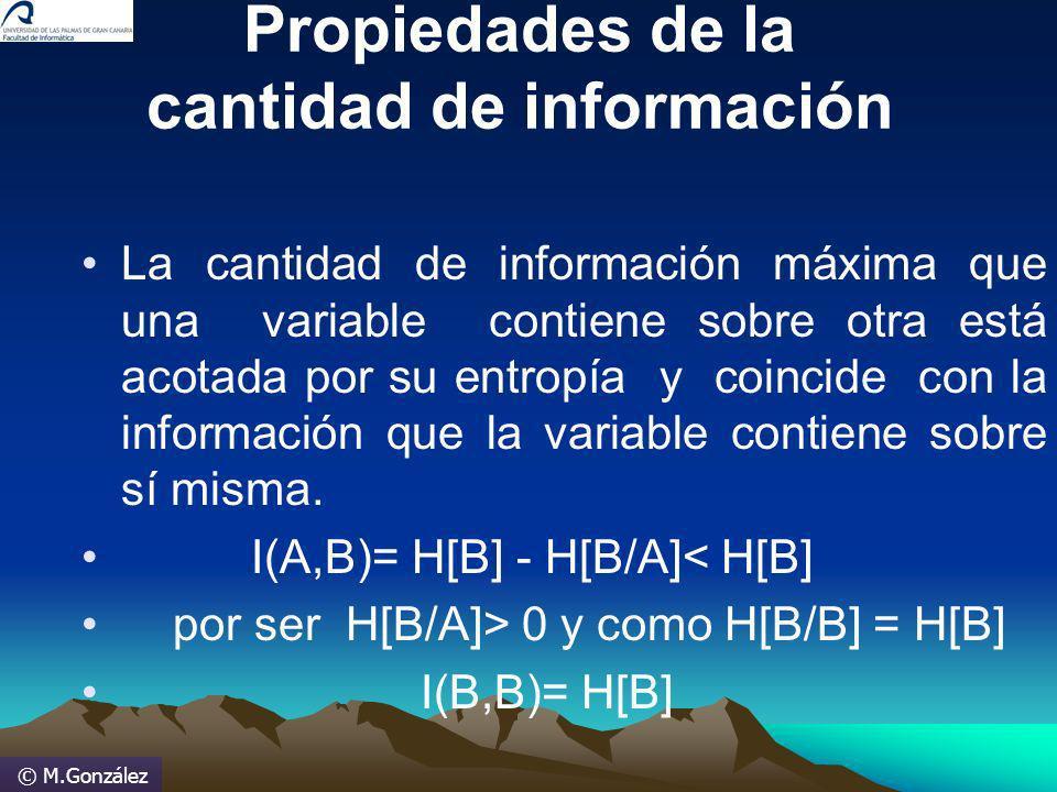 © M.González Propiedades de la cantidad de información La cantidad de información máxima que una variable contiene sobre otra está acotada por su entr