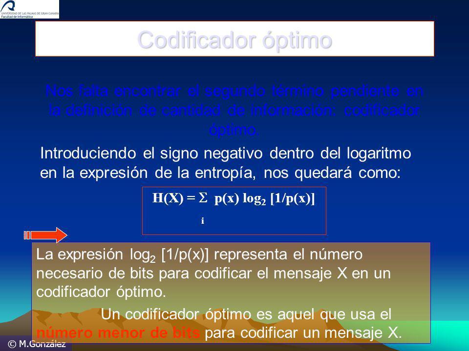 © M.González Codificador óptimo Nos falta encontrar el segundo término pendiente en la definición de cantidad de información: codificador óptimo. Intr