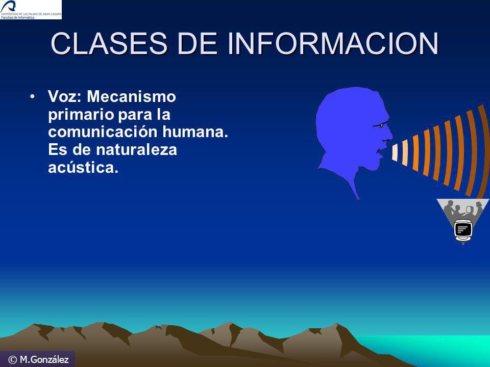 © M.González CLASES DE INFORMACION Voz: Mecanismo primario para la comunicación humana. Es de naturaleza acústica.