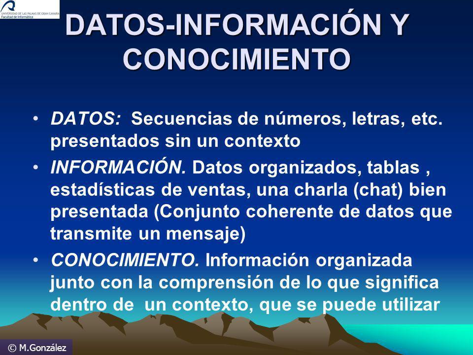© M.González DATOS-INFORMACIÓN Y CONOCIMIENTO DATOS: Secuencias de números, letras, etc. presentados sin un contexto INFORMACIÓN. Datos organizados, t