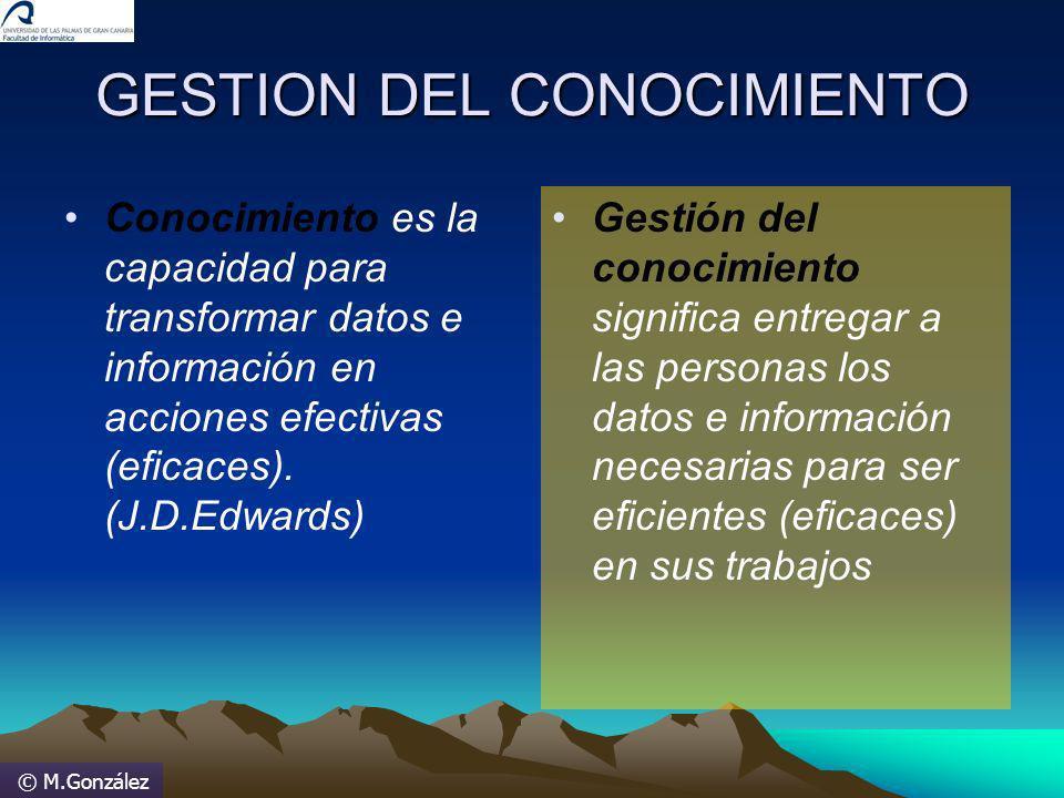 © M.González GESTION DEL CONOCIMIENTO Conocimiento es la capacidad para transformar datos e información en acciones efectivas (eficaces). (J.D.Edwards