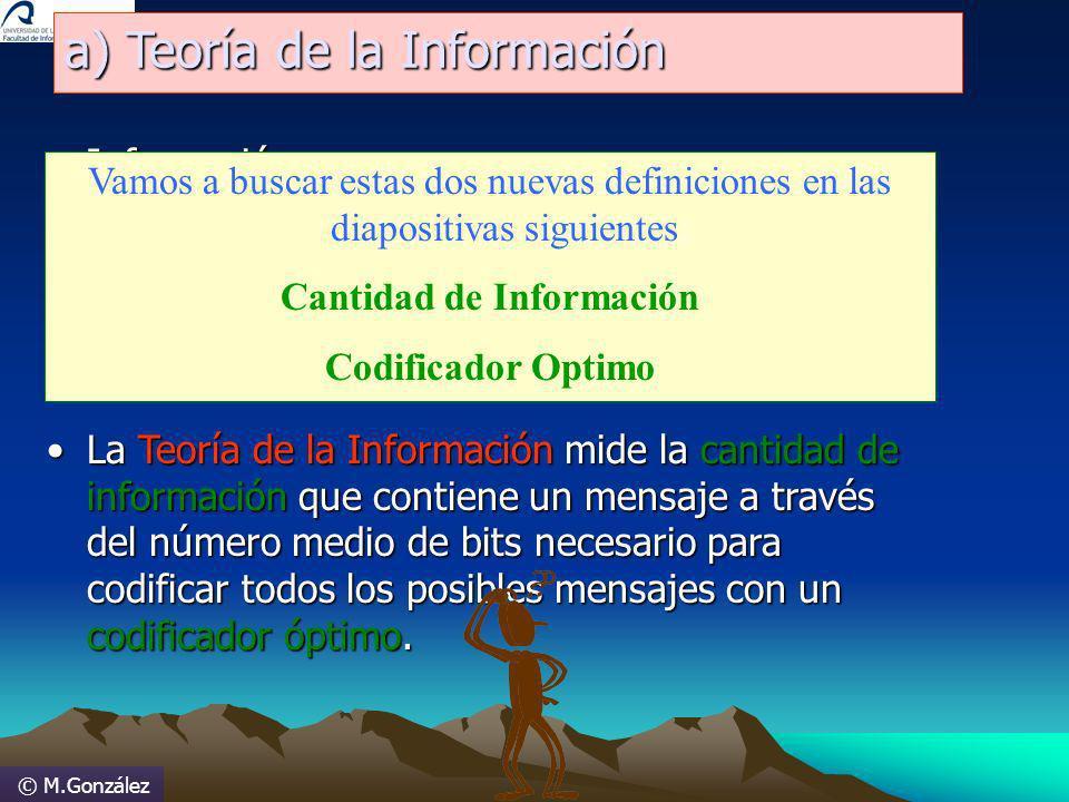 © M.González a) Teoría de la Información Información:Información: –Conjunto de datos o mensajes inteligibles creados con un lenguaje de representación