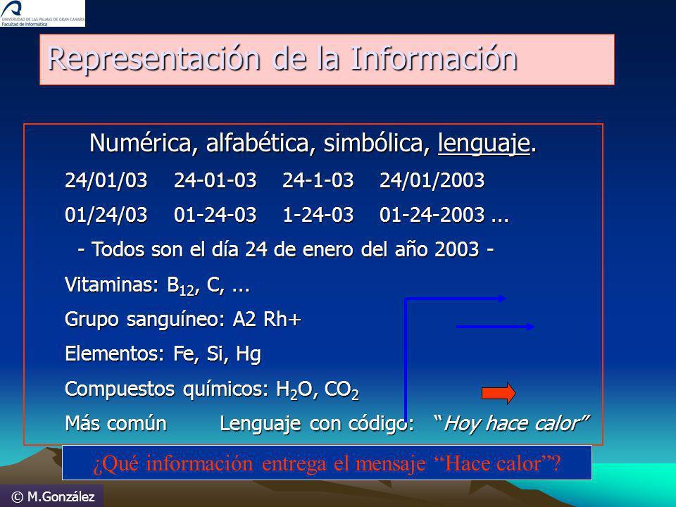 © M.González Representación de la Información Numérica, alfabética, simbólica, lenguaje. 24/01/03 24-01-03 24-1-03 24/01/2003 01/24/03 01-24-03 1-24-0