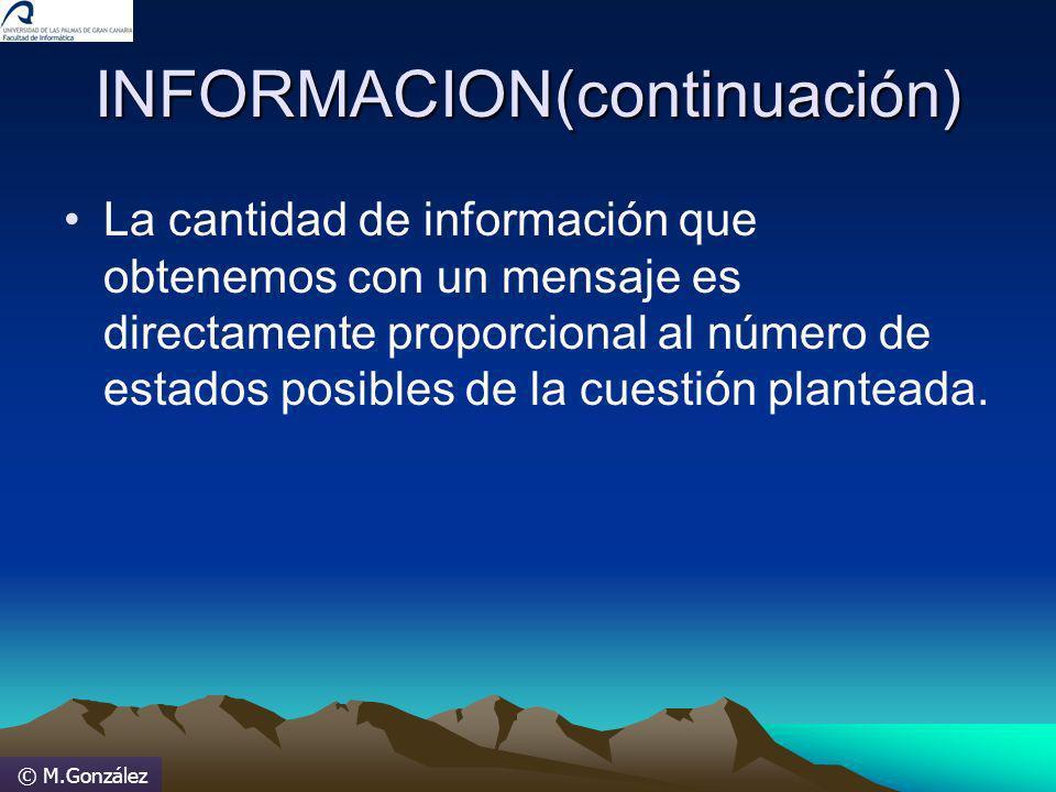 © M.González INFORMACION(continuación) La cantidad de información que obtenemos con un mensaje es directamente proporcional al número de estados posib