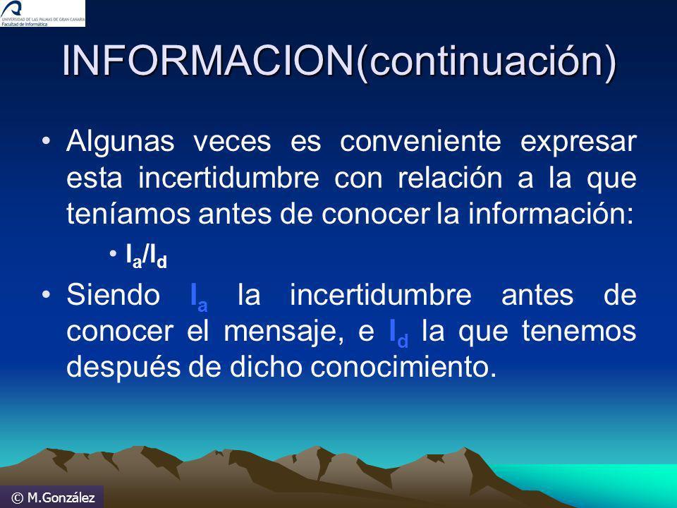 © M.González INFORMACION(continuación) Algunas veces es conveniente expresar esta incertidumbre con relación a la que teníamos antes de conocer la inf