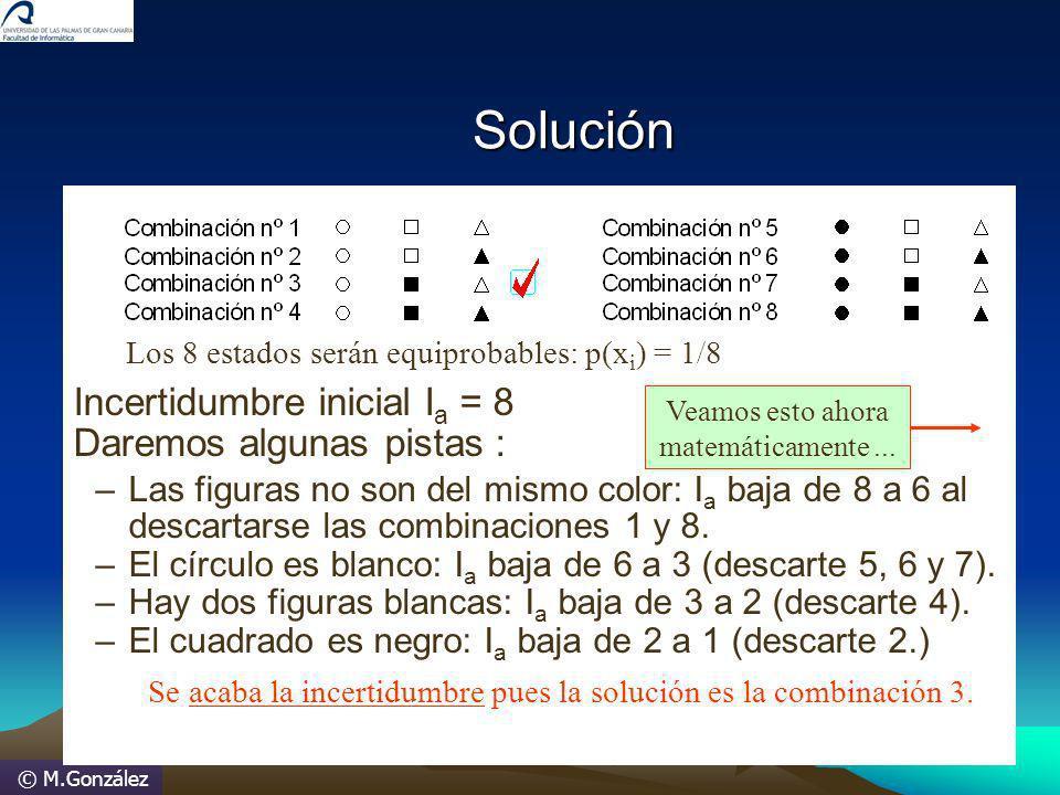 © M.González Incertidumbre inicial I a = 8 Daremos algunas pistas : –Las figuras no son del mismo color: I a baja de 8 a 6 al descartarse las combinac