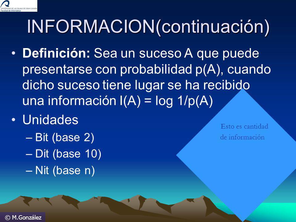 © M.González INFORMACION(continuación) Definición: Sea un suceso A que puede presentarse con probabilidad p(A), cuando dicho suceso tiene lugar se ha
