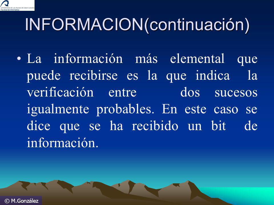 © M.González INFORMACION(continuación) La información más elemental que puede recibirse es la que indica la verificación entre dos sucesos igualmente
