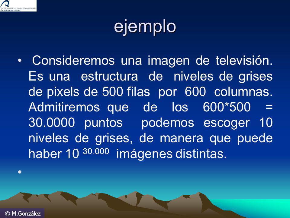© M.González ejemplo Consideremos una imagen de televisión. Es una estructura de niveles de grises de pixels de 500 filas por 600 columnas. Admitiremo