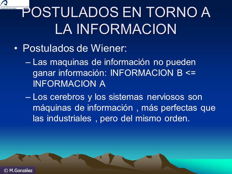 © M.González POSTULADOS EN TORNO A LA INFORMACION Postulados de Wiener: –Las maquinas de información no pueden ganar información: INFORMACION B <= INF