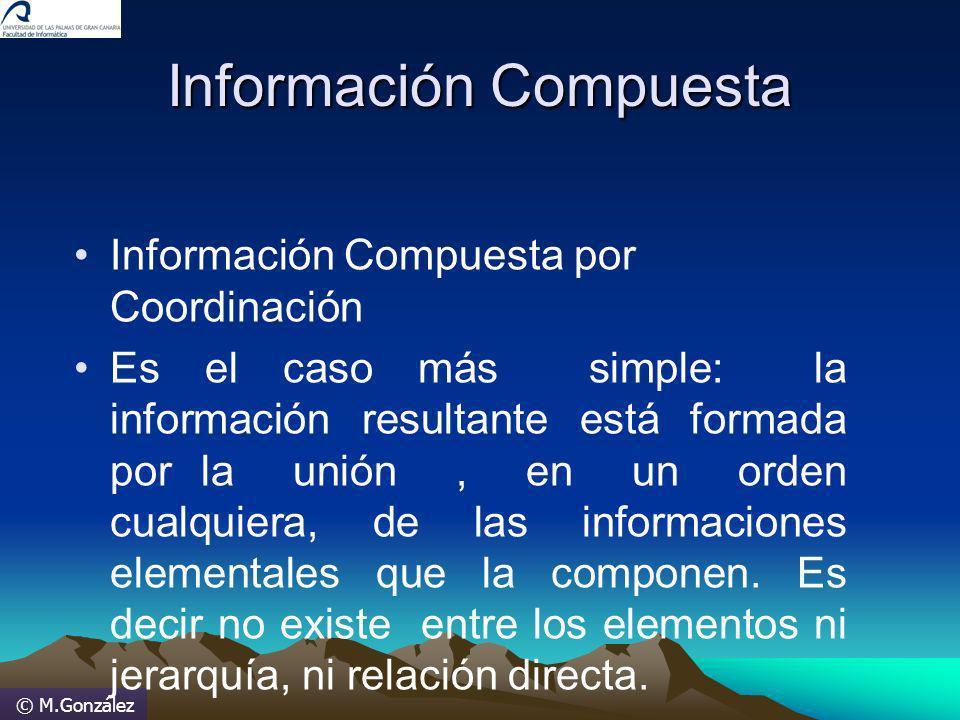 Información Compuesta Información Compuesta por Coordinación Es el caso más simple: la información resultante está formada por la unión, en un orden c