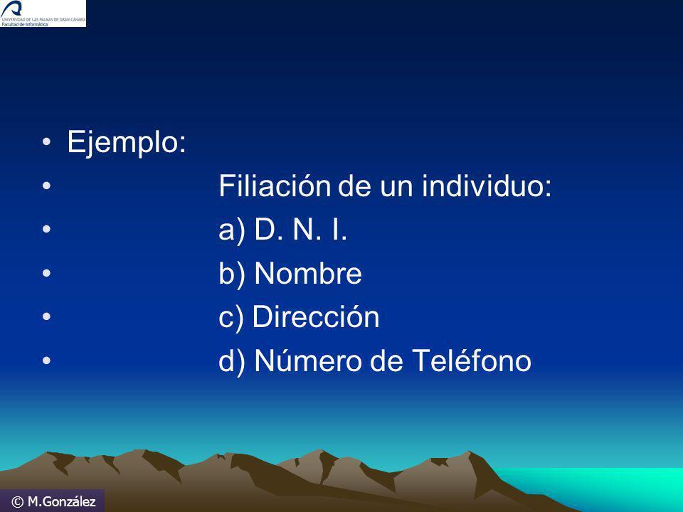 © M.González Ejemplo: Filiación de un individuo: a) D. N. I. b) Nombre c) Dirección d) Número de Teléfono