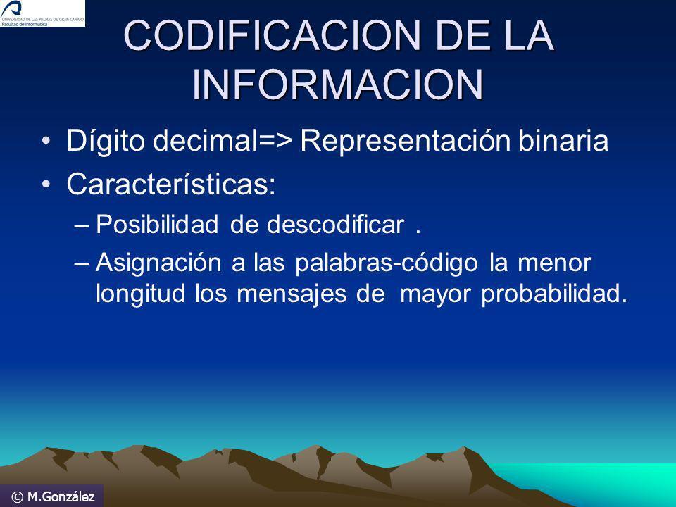 © M.González CODIFICACION DE LA INFORMACION Dígito decimal=> Representación binaria Características: –Posibilidad de descodificar. –Asignación a las p