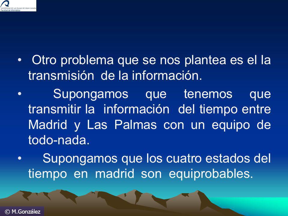 © M.González Otro problema que se nos plantea es el la transmisión de la información. Supongamos que tenemos que transmitir la información del tiempo