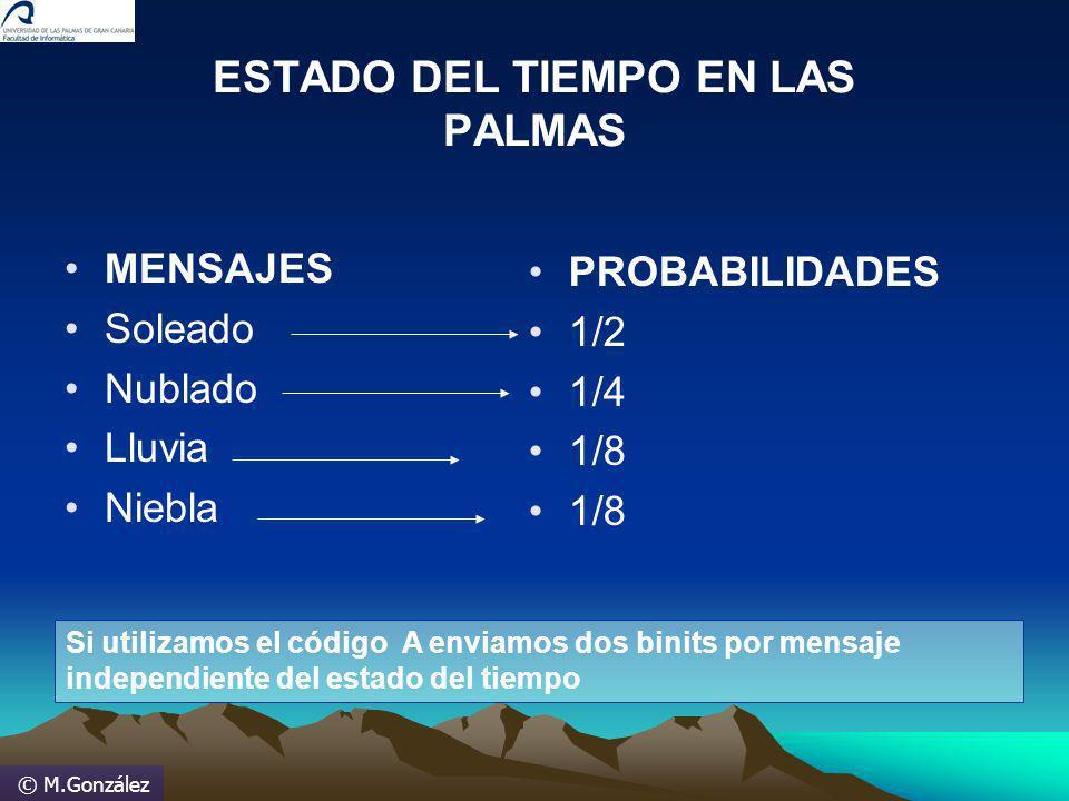 © M.González ESTADO DEL TIEMPO EN LAS PALMAS MENSAJES Soleado Nublado Lluvia Niebla PROBABILIDADES 1/2 1/4 1/8 Si utilizamos el código A enviamos dos