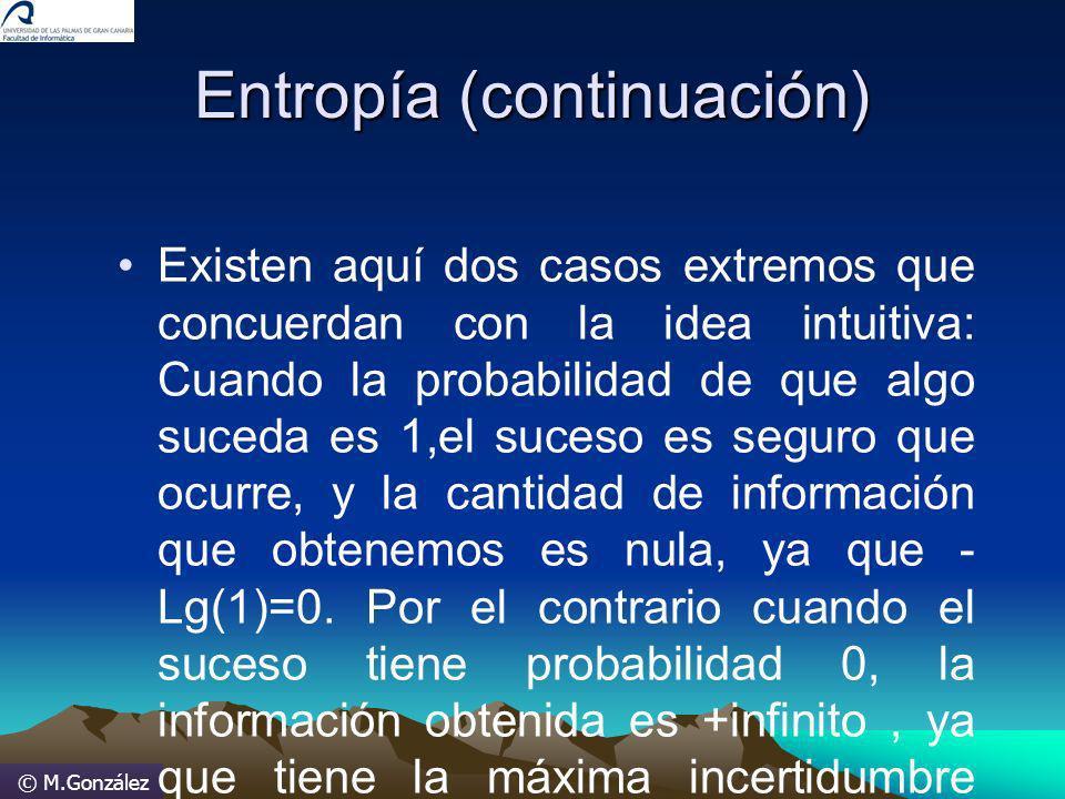 © M.González Entropía (continuación) Existen aquí dos casos extremos que concuerdan con la idea intuitiva: Cuando la probabilidad de que algo suceda e