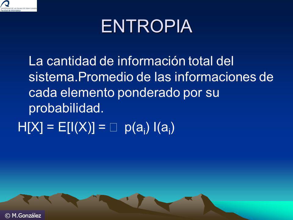 © M.González ENTROPIA La cantidad de información total del sistema.Promedio de las informaciones de cada elemento ponderado por su probabilidad. H[X]