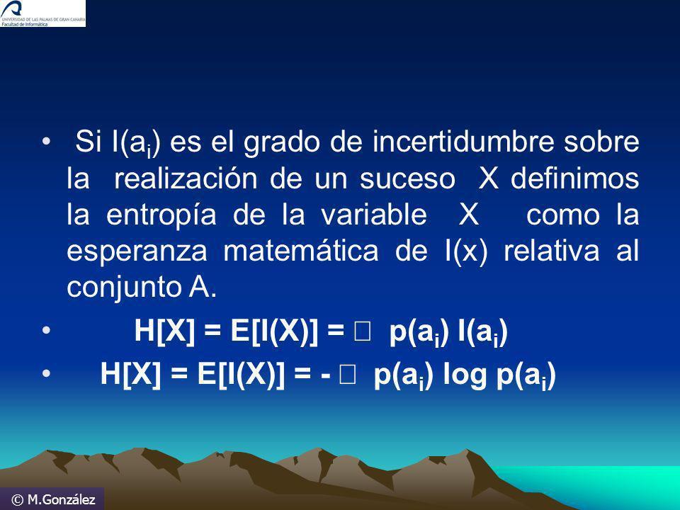 © M.González Si I(a i ) es el grado de incertidumbre sobre la realización de un suceso X definimos la entropía de la variable X como la esperanza mate