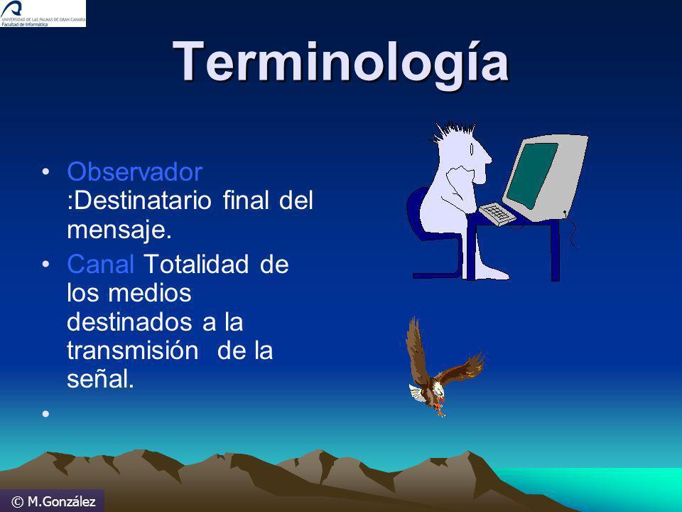 © M.González Terminología Observador :Destinatario final del mensaje. Canal Totalidad de los medios destinados a la transmisión de la señal.