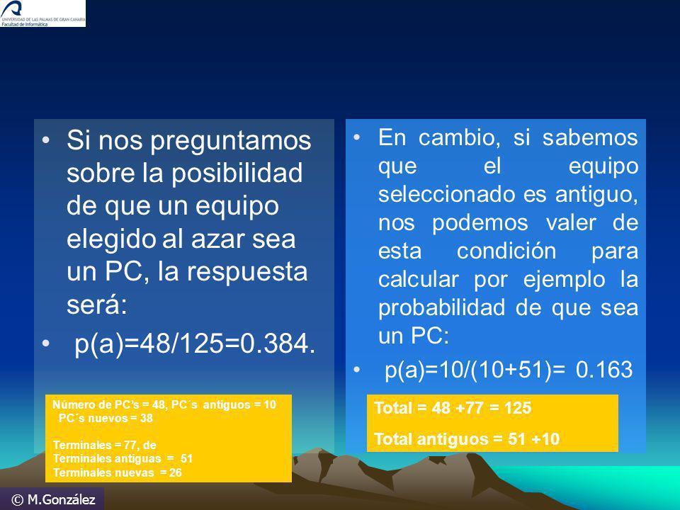 © M.González Si nos preguntamos sobre la posibilidad de que un equipo elegido al azar sea un PC, la respuesta será: p(a)=48/125=0.384. En cambio, si s