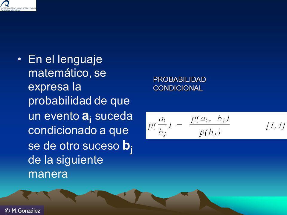 © M.González En el lenguaje matemático, se expresa la probabilidad de que un evento a i suceda condicionado a que se de otro suceso b j de la siguient