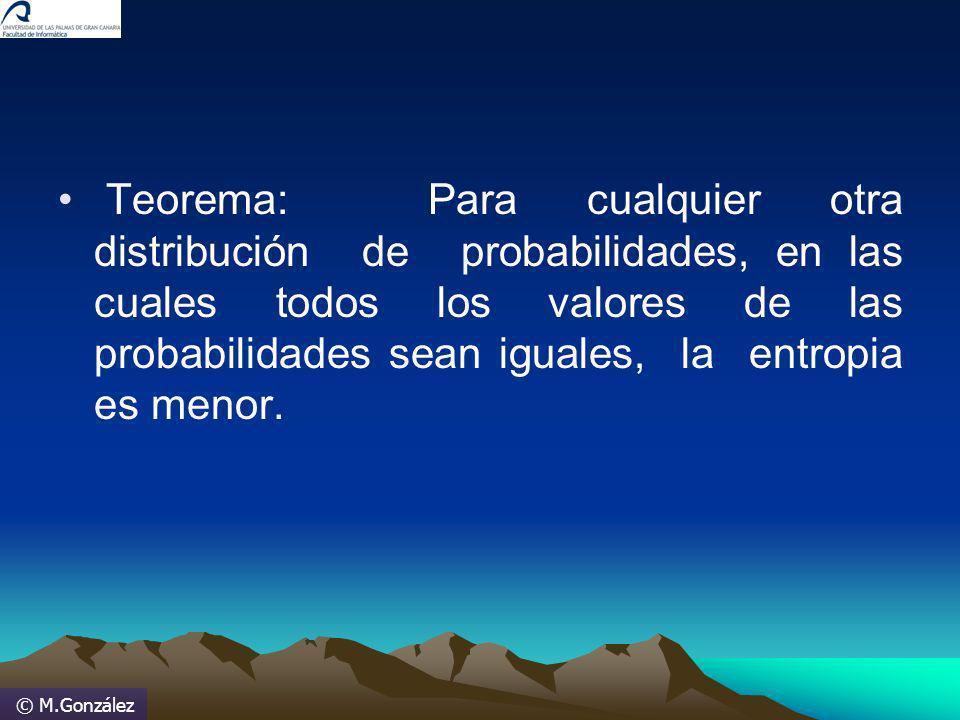 © M.González Teorema: Para cualquier otra distribución de probabilidades, en las cuales todos los valores de las probabilidades sean iguales, la entro