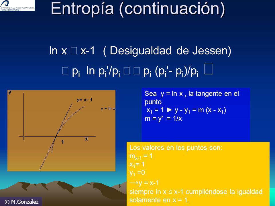 © M.González Entropía (continuación) Entropía (continuación) ln x x-1 ( Desigualdad de Jessen) p i ln p i '/p i p i (p i '- p i )/p i Sea y = ln x, la