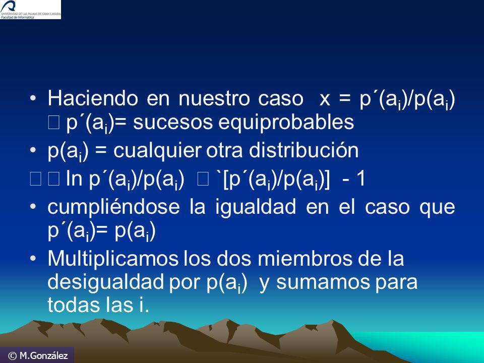 © M.González Haciendo en nuestro caso x = p´(a i )/p(a i ) p´(a i )= sucesos equiprobables p(a i ) = cualquier otra distribución ln p´(a i )/p(a i ) `