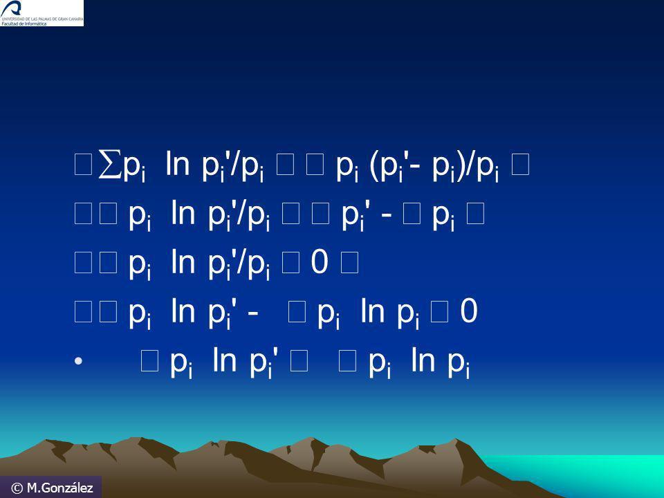 © M.González p i ln p i '/p i p i (p i '- p i )/p i p i ln p i '/p i p i ' - p i p i ln p i '/p i 0 p i ln p i ' - p i ln p i 0 p i ln p i ' p i ln p