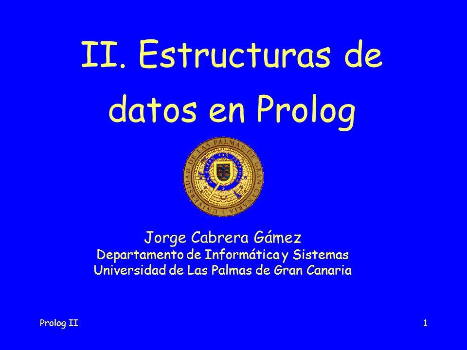 Prolog II12 Ejemplo (cont.): ?- nacimiento(X,fecha(_, _, Año), _),   datos( X, _, _, Telefono),   Año > 1975.